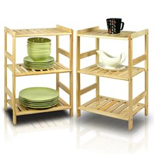 Pine 3 Tier Storage Shelf (Set of 2)