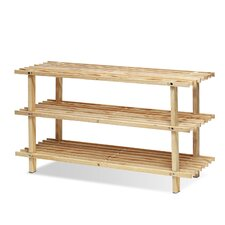 Pine Solid Wood 3 Tier Shoe Rack