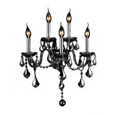 Provence 5 Light Wall Sconce with Smoke Crystal Color