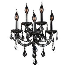 Lyre 5 Light Wall Sconce with Smoke Crystal Color