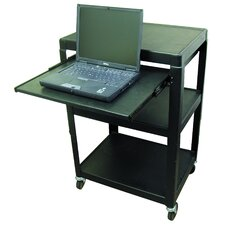 Adjustable Steel AV Cart with Pull-Out Shelf