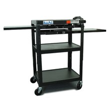 Height Adjustable AV Cart with 3 Stationary Shelves