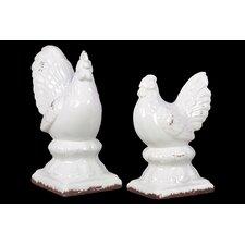 2 Piece Alluring Crackle Glaze Stoneware Rooster Pair Figurine Set