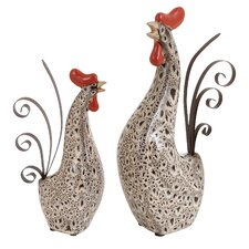 2 Piece Rooster Figurine Set by Woodland Imports