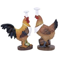 2 Piece Rooster Chef Figurine