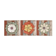Antique Styled Floral 3 Piece Wood Metal Wall Décor Set