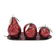 Aah! 4 Piece Metal Mosaic Fruit Set
