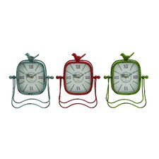 Bright Colored Metal Table Clock (Set of 3)