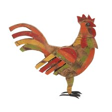 Contemporary Styled Wood Metal Painted Rooster Figurine