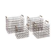 4 Piece Classy Metal Wood Basket Set