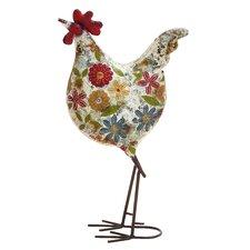 Floral Metal Rooster Figurine