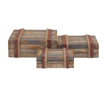 Classy 3 Piece Attractive Wood Rope Box