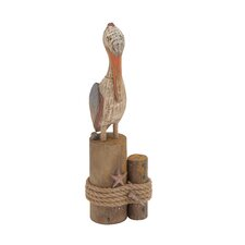 Antique Fascinating Wood Rope Pelican Figurine