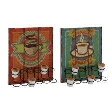 2 Piece Coffee Caddy Wall Decor Set