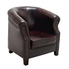 Cushy Wood / Leather Captians Arm Chair