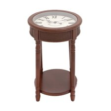 Wood Glass Clock End Table