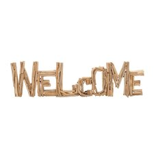 """Classy Striking Driftwood """"Welcome"""" Letter Block Wall Décor"""