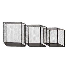 Attractive 3 Piece Net Metal Wire Wall Basket Set