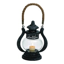 Curvy Zap Black Polished Metal Glass Jute Lantern