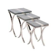 Sleek 3 Piece Stainless Steel / Vinyl Nesting Table