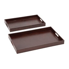 2 Piece The Suave Wood Real Leather Tray Set