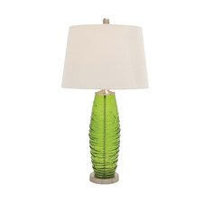 """Metal and Glass 32"""" H Table Lamp with Empire Shade"""