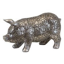 Beautifully Embellished with Floral Motifs and Design Resin Pig Figurine