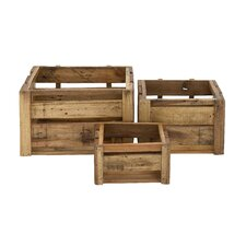 3 Piece Rural and Arty Wood Storage Crate Set