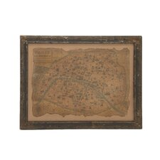 Unmissable and Cool Wood Framed Antique Map Wall Décor