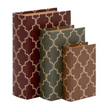 3 Piece Stylish and Antique Themed Wood Vinyl Book Box Set