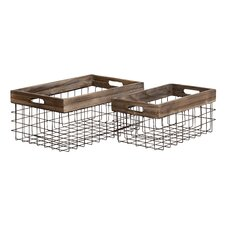 2 Piece Classy Styled Metal Wood Basket Set