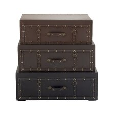 Classy Wood Leather Trunk Cabinet