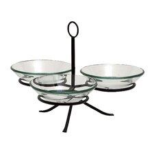 4 Piece Stylish Fascinating Metal Glass Serving Bowl Set