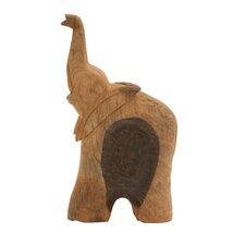 Adorable Wood Elephant Sculpture