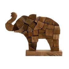 Adorable Wood Block Elephant Figurine