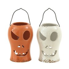 Captivating Halloween Ceramic Lantern (Set of 2)