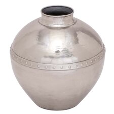 Traditional Industrial Vintage Vase with Riveted Center