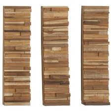 3 Piece Three in One Natural Block Panel Wall Décor Set