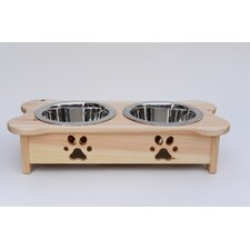 Carved Paws Double Bowl Elevated Feeder