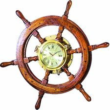 """Oversized 26"""" Wooden and Brass Ship Wheel Wall Clock"""