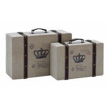 2 Piece Vintage Look French Burlap Travel Luggage Set
