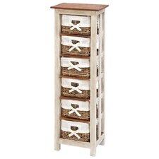Shabby Rattan Wood 6 Drawer Cabinet