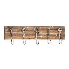 Wood & Metal 5 Hook Coat Rack