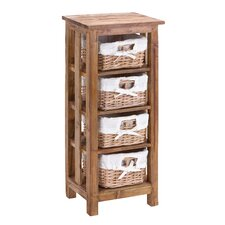 Mahogany Wooden Rattan Basket With 3 Shelves And Storage