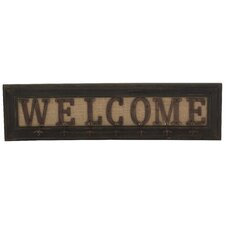 "Rustic ""Welcome"" Wood & Metal Coat Rack"