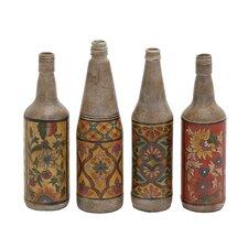 Hand Painted Terracotta  4 Piece Bottle Sculpture Set