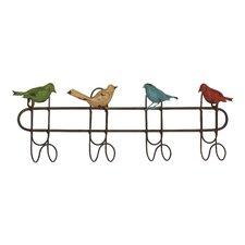 Quartet of Colorful Singing Sparrows 4 Hook Metal Coat Rack