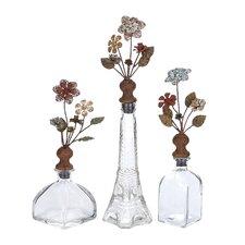 3 Piece Opaque Manhattan Decorative Bottle Set