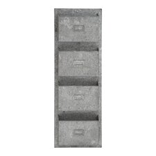 4 Tiered Metal Galvanized Wall Letterbox