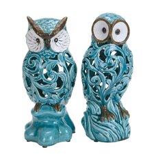 2 Piece Decorative Ceramic Owl Figurine Set